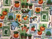 Süße Gartenmotive mit Kürbis, Möhren, Schubkarre....