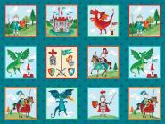 Patchworkstoff, Dragonheart Labels, Drachen, Ritter, Makower, 2057