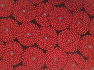 Patchworkstoff, Sansui Chrysanthemum, Blumen in rot schwarz