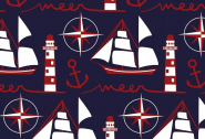 Jersey, maritim, Leuchtturm, Segelschiff und Anker, Petra Laitner