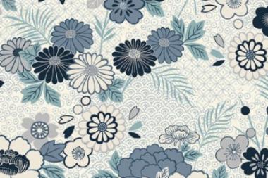 Patchworkstoff,Indigo Floral Montage, 2150, Makower uk