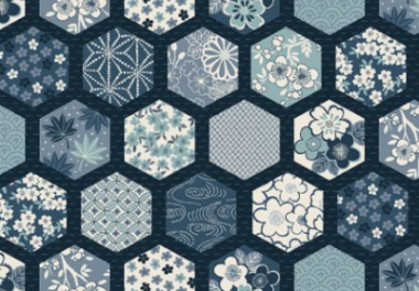 Patchworkstoff,Indigo Hexagon, 2151, Makower uk