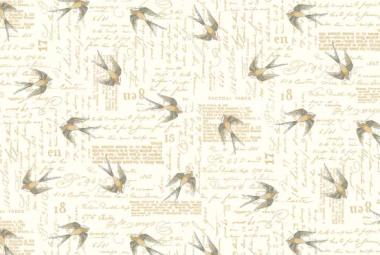 Patchworkstoff, Vintage Journal Swallows, 1580, Makower uk