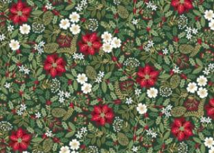 Patchworkstoff, Silent Night Foliage, Weihnachtsblumen-/Blätter, 1975, makower uk