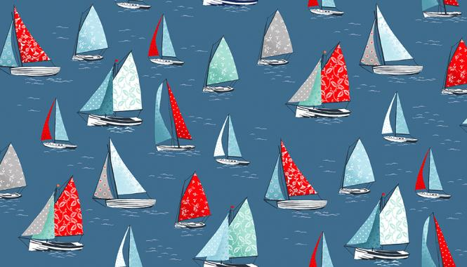 Patchworkstoff, Sea Breeze, Yachts, Segelboote, 2082