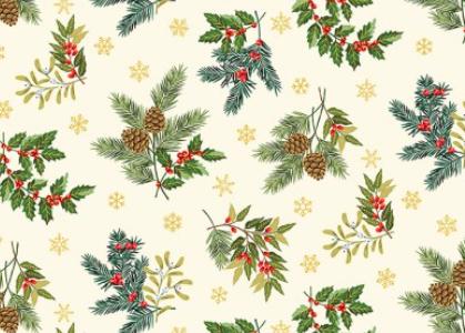 Weihnachtsstoff, Patchworkstoff, Foliage scatter, Tannenzweige, Sterne, makower 2091