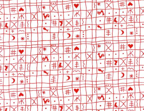 Westfalenstoff Klassiker, Hähnchen, weiß rot  001050163
